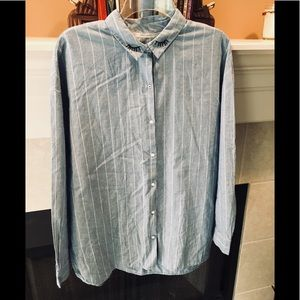 Light blue with white striping button down😊